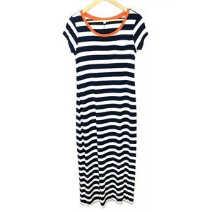 GAP Maternity Dress Maxi Striped Blue Medium